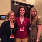 Emilie Hayes Community Partnership award winners - Kate Vsetula and Lisa Needham with Emilie Hayes - at the Student Life Awards, 2015