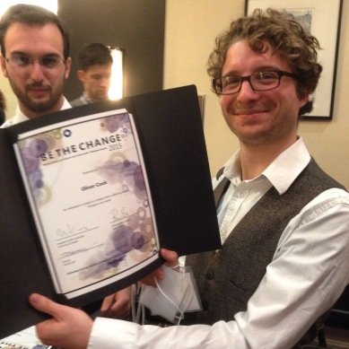 Be The Change award winner - Oliver Cook - at the Student Life Awards, 2015