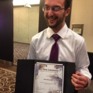 Be The Change award winner - Corey Alexander - at the Student Life Awards, 2015