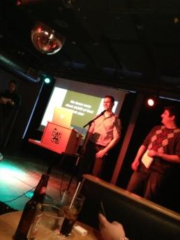 Beni and Lee-Jay presenting at DemoCamp 21