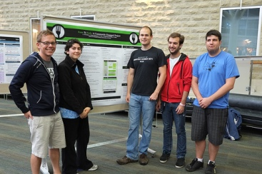 At the CPES URA Poster Session with the Farm To Fork team: Jennifer, Justin, Corey, and Lee-Jay (missing Oliver).